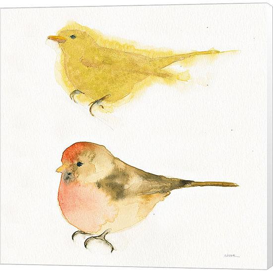 Metaverse Art Watercolor Birds I Sq Canvas Wall Art