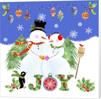 Metaverse Art Xmas Snowman Canvas Wall Art