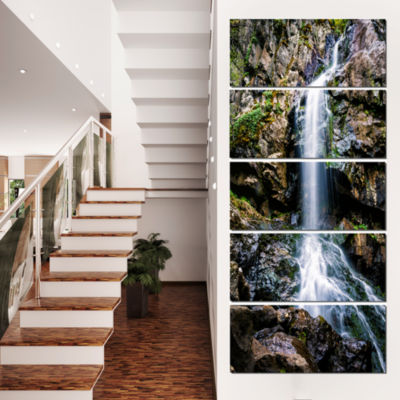 Designart Waterfall in Sofia Bulgaria Landscape Canvas Art Print - 4 Panels