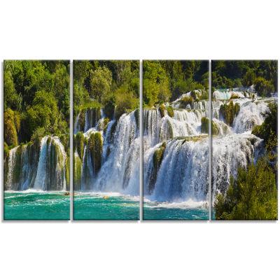 Designart Waterfall Krka Panorama Landscape Photography Canvas Art Print - 4 Panels