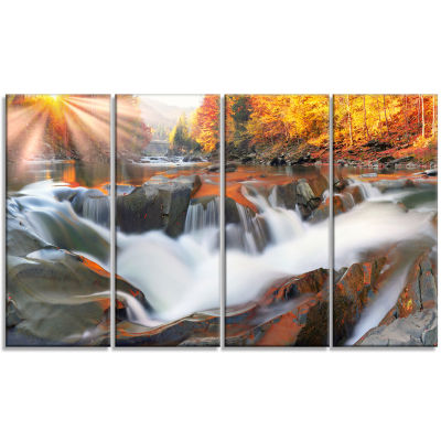 Designart Waterfall Probiy in Prut River LandscapePhotography Canvas Print - 4 Panels