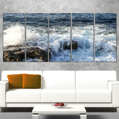 Designart Waves Breaking on Stony Beach Seashore Wrapped ArtPrint - 5 Panels