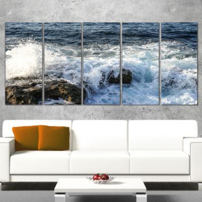 Designart Waves Breaking on Stony Beach Seashore Canvas ArtPrint - 5 Panels