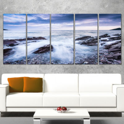 Designart Waves Crashing at Beach Seascape WrappedArt Print- 5 Panels