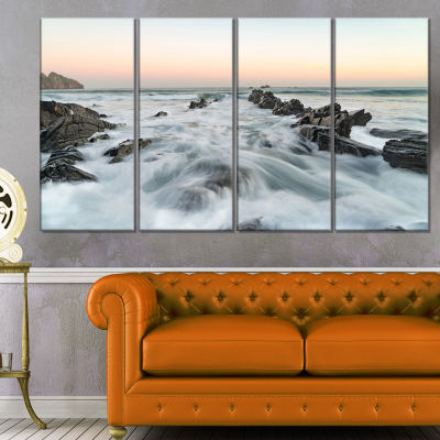 Waves Hitting Beach at Sunrise atlantic Seashore Canvas Art Print - 4 Panels