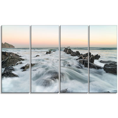 Designart Waves Hitting Beach at Sunrise atlanticSeashore Canvas Art Print - 4 Panels