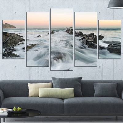 Designart Waves Hitting Beach at Sunrise atlanticSeashore Wrapped Art Print - 5 Panels