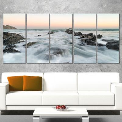 Designart Waves Hitting Beach at Sunrise atlanticSeashore Wrapped Art Print - 5 Panels