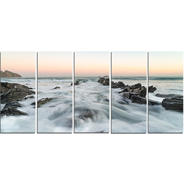 Designart Waves Hitting Beach at Sunrise atlanticSeashore Canvas Art Print - 5 Panels