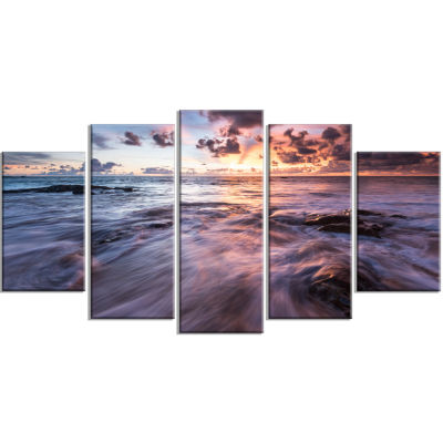 Waves Hitting Rocky Beach Beach Photo Wrapped Print - 5 Panels