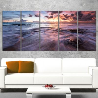 Designart Waves Hitting Rocky Beach Beach Photo Canvas Print- 5 Panels