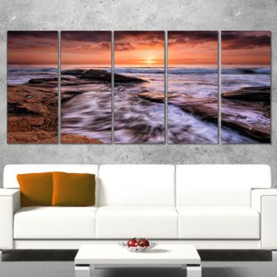 Waves Hitting Rocky Beach Burgas Bay Seashore Canvas Art Print - 4 Panels