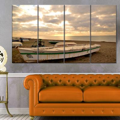Waves in Lerici Beach Italy Seascape Canvas Art Print - 4 Panels