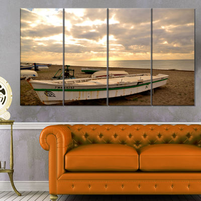 Designart Waves in Lerici Beach Italy Seascape Canvas Art Print - 4 Panels
