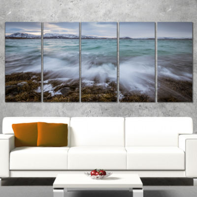 Designart Waves Splashing Rocks in Norway Modern Seascape Canvas Artwork - 4 Panels