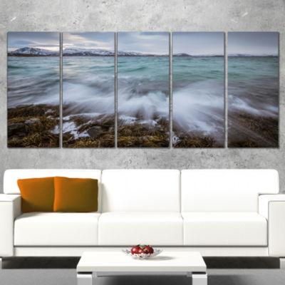 Designart Waves Splashing Rocks in Norway Modern Seascape Canvas Artwork - 5 Panels