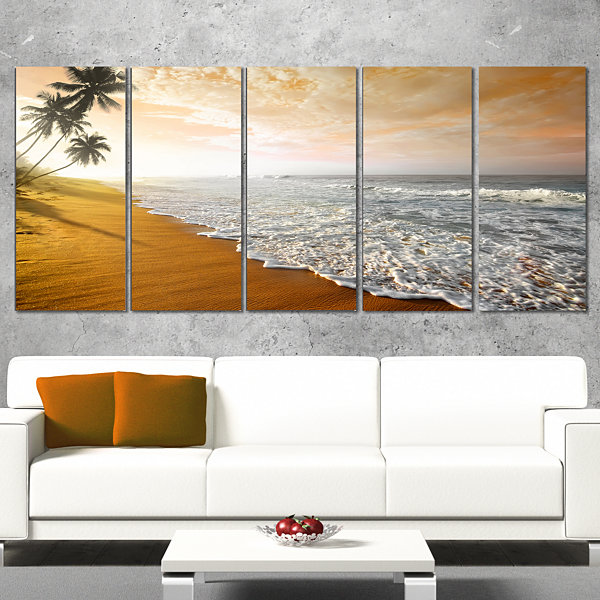 Wavy Clouds Over Seashore Extra Large Seascape ArtCanvas - 4 Panels