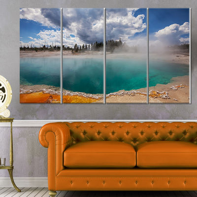 West Thumb Geyser Basin in Yellowstone Oversized Landscape Canvas Art - 4 Panels