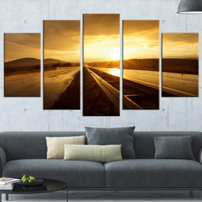 Wet After Rain Road at Sunset Extra Large WrappedWall Art Landscape - 5 Panels