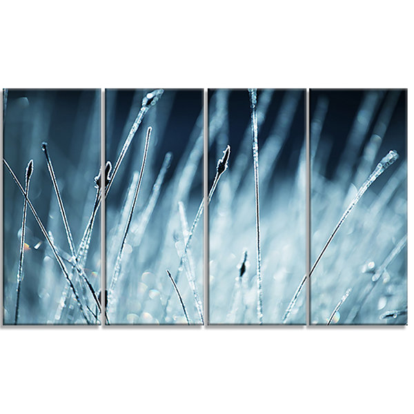 Designart Wet Grass Black and White Floral CanvasArt Print- 4 Panels