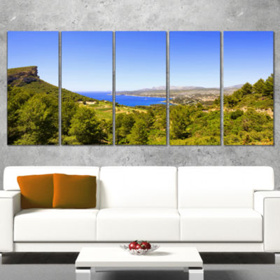 Cassis Bay From Route Des Cretes Oversized Landscape Wrapped Wall Art Print - 5 Panels