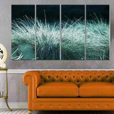 Designart Wet Green Grass in Downpour Oversized Landscape Canvas Art - 4 Panels