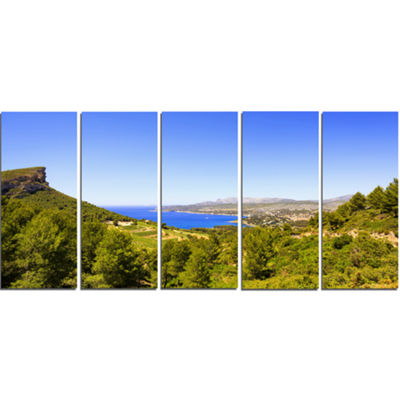 Designart Cassis Bay From Route Des Cretes Oversized Landscape Wall Art Print - 5 Panels