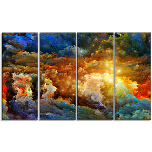 What Colors May Come Abstract Canvas Artwork - 4 Panels