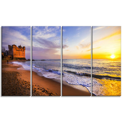 Designart Castle Santa Severa Over Sunset Italy Seashore Canvas Art Print - 4 Panels