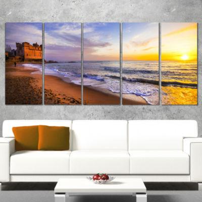 Designart Castle Santa Severa Over Sunset Italy Seashore Wrapped Canvas Art Print - 5 Panels