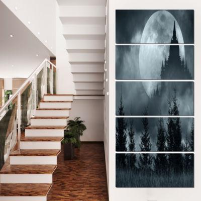 Castle Silhouette in Full Moon Landscape Photo Canvas Art Print - 5 Panels