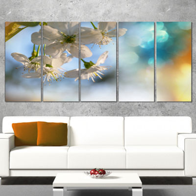 Designart White Blossoming Cherry Tree Floral Canvas Art Print - 5 Panels