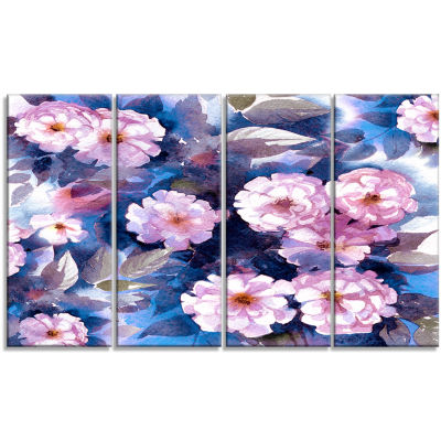 Designart White Briar in Classical Style Floral Art Canvas Print - 4 Panels