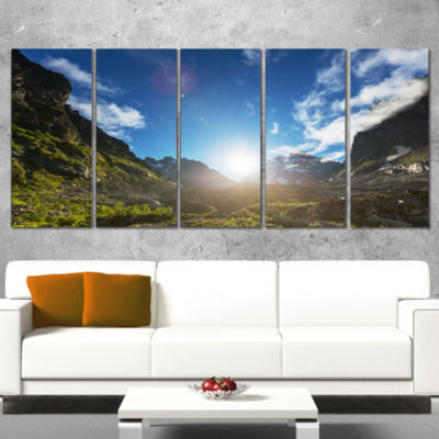 Designart Caucasus Hills Under Bright Sunset Landscape Canvas Art Print - 5 Panels