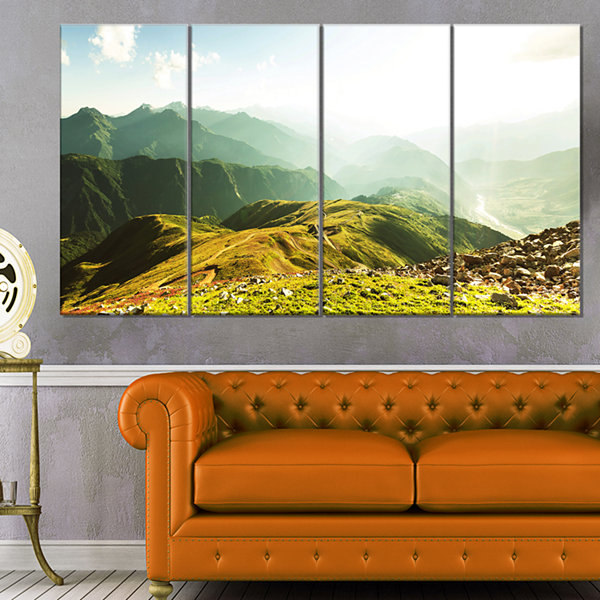 Designart Caucasus Mountains Panorama Landscape Canvas Art Print - 4 Panels