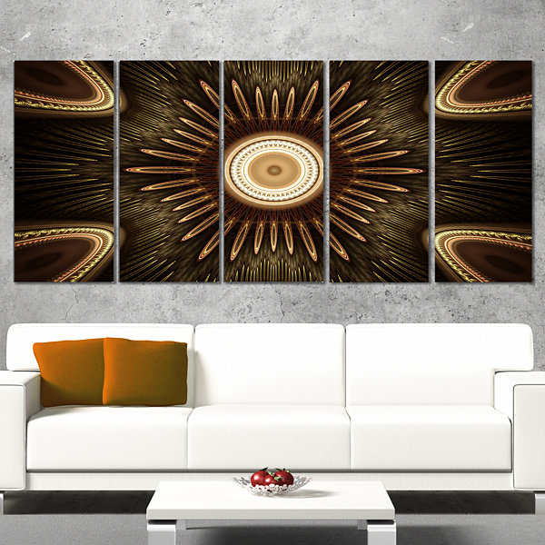 Designart White Brown Rounded Fractal Flower Floral Canvas Art Print - 5 Panels