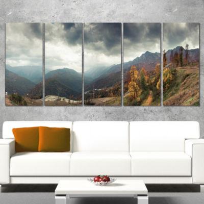 Designart Caucasus Mountains White Panorama Landscape Artwork Canvas - 5 Panels