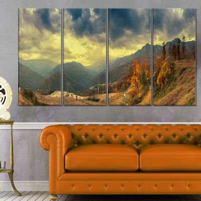Caucasus Mountains Yellow Panorama Landscape Artwork Canvas - 4 Panels
