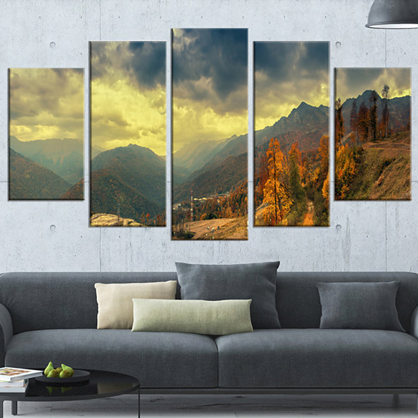 Designart Caucasus Mountains Yellow Panorama Landscape Artwork Wrapped Canvas - 5 Panels