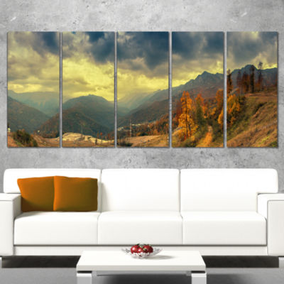 Designart Caucasus Mountains Yellow Panorama Landscape Artwork Canvas - 5 Panels