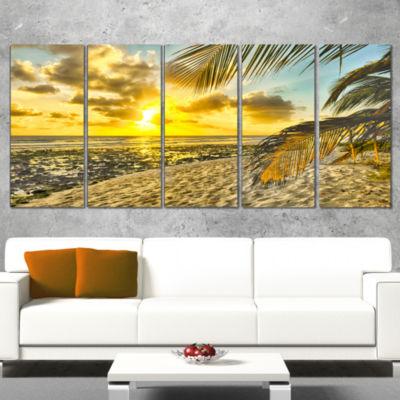 Designart White Caribbean Beach with Palms Landscape WrappedArt Print - 5 Panels