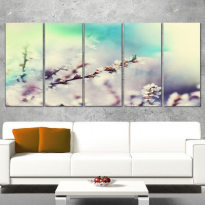 Designart White Cherry Blossoming Flowers Floral Canvas ArtPrint - 4 Panels