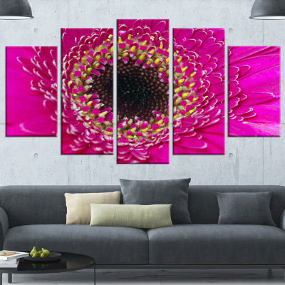 Designart Center of Gerbera Flower Close Up Flowers Canvas Wall Artwork - 4 Panels