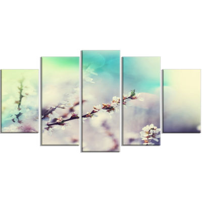 White Cherry Blossoming Flowers Floral Wrapped ArtPrint - 5 Panels