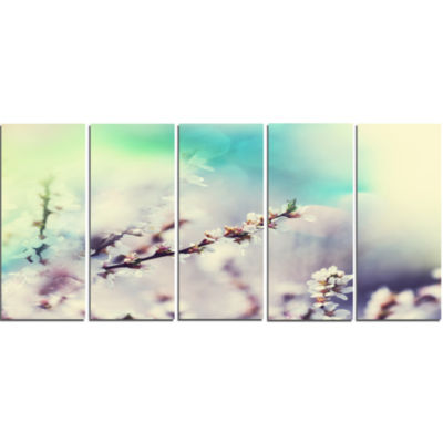 White Cherry Blossoming Flowers Floral Canvas ArtPrint - 5 Panels