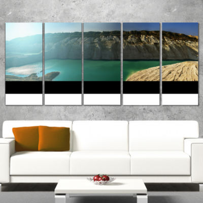 Chalk Quarry in Belarus Panorama Landscape Print Wall Artwork - 4 Panels