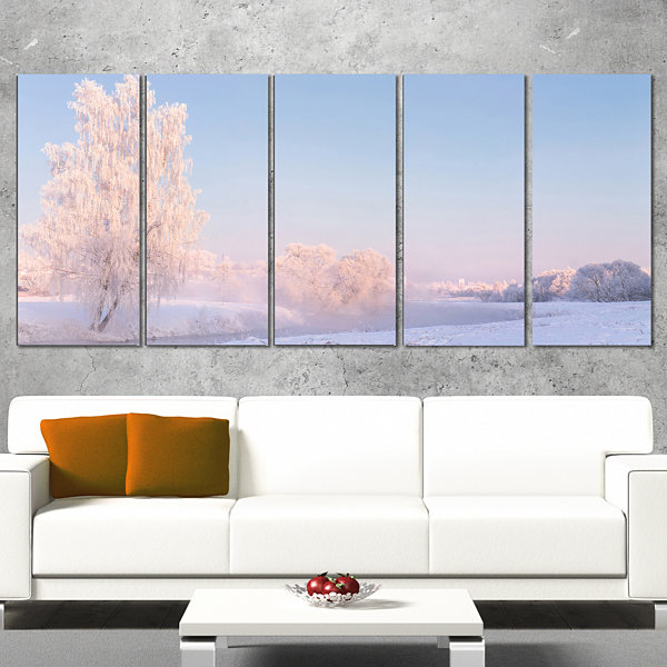 Designart White Crystal Tree and Landscape Landscape Print Wrapped Wall Artwork - 5 Panels