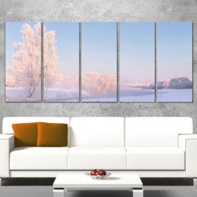 Designart White Crystal Tree and Landscape Landscape Print Wall Artwork - 5 Panels