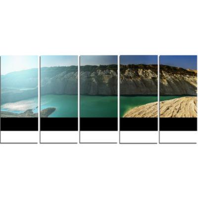 Chalk Quarry in Belarus Panorama Landscape Print Wall Artwork - 5 Panels