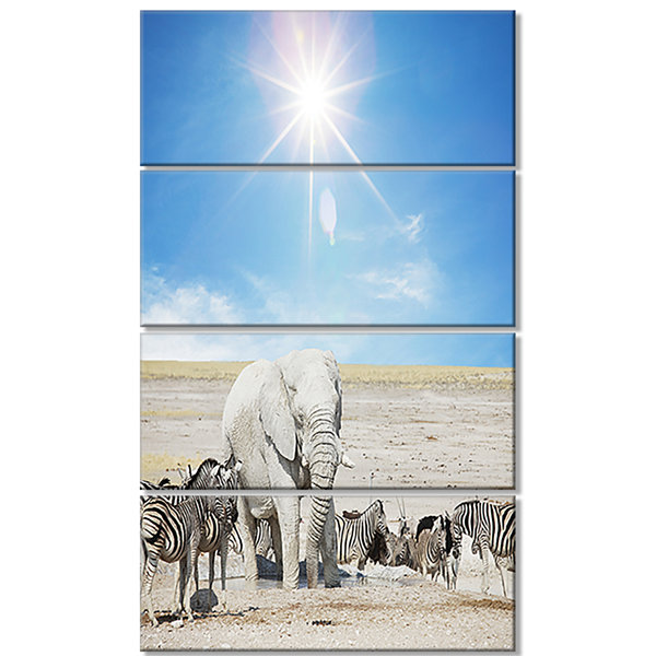 Designart White Elephant and Herd of Zebras Abstract CanvasArt Print - 4 Panels
